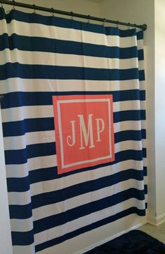 Personalized Shower Curtain with Monogram. Choose pattern, background, monogram style and more to accessorize a bathroom in style. From The Cute Kiwi