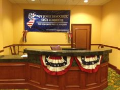 The NJ staff desk is ready for delegates to arrive