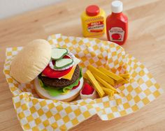 Felt Hamburger Grill Set - Wool Blend - Pretend Play Food