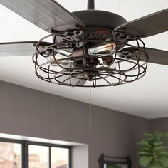 Williston Forge Ratcliffe Branched Ceiling Fan Light Kit Finish: English Bronze - Bronze Lights - Ideas of Bronze Lights Ceiling Fan Globes, Ceiling Fan Chandelier, Ceiling Lights, Caged Ceiling Fan, Black Ceiling Fan, Bronze Ceiling Fan, Farmhouse Lighting, Kitchen Lighting, Farmhouse Light Fixtures