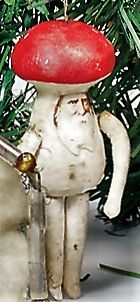 "Antique Spun Cotton Christmas ""Toadstool Man"" Ornament With Scrap Face."