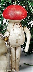 "Antique Spun Cotton Christmas ""Toadstool Man"" Ornament With Scrap Face."