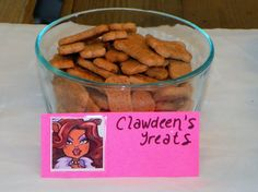 Monster High Party Snacks:  For Clawdeen's Treats I used Scooby Snacks crackers.