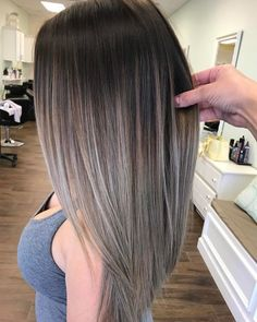 Balayage and ombre hair. Hair Color Ideas & Trends for Stylish and attractive. Balayage and ombre hair. Hair Color Ideas & Trends for Stylish and attractive. Ash Brown Hair Color, Brown And Silver Hair, Ash Brown Ombre, Straight Hair With Highlights, Brown Hair With Silver Highlights, Black Hair, Silver Ombre Hair, Brown Colors, Ash Grey