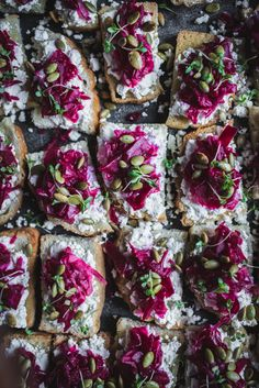 Beet Sauerkraut Sourdough Toasts with Chevre, Micro Thyme, and Pumpkin Seeds by Eva Kosmas Flores of Adventures in Cooking