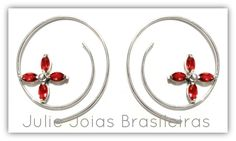 Brincos argola em prata 950 e granada (950 silver hoop earrings with garnet)