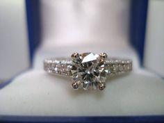 1.15 Carat Certifed Diamond Engagement Ring 14K White Gold Hand Made Pave Set. $4,900.00, via Etsy.
