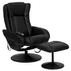 Massaging Black Leather Recliner & Ottoman w/ Leather Wrapped Base - Flash Furniture a relaxing massage in the comfort of your own home or office with this recliner and ottoman set. This set offers maximum massaging power that Recliner With Ottoman, Chair And Ottoman Set, Swivel Recliner, Leather Recliner, Recliner Chairs, Room Chairs, Office Chairs, Swivel Glider, Chair Cushions