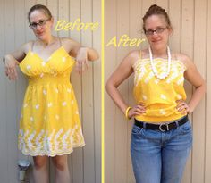 Yellow Rose of Texas Dress-to-Cami Refashion - After by nosmallfeet, via Flickr