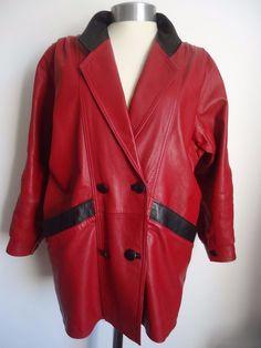 Womens Vintage Retro Red Black Genuine Leather Coat Jacket Small Masouras Cyprus