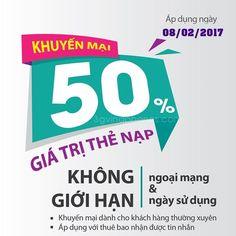 Khuyến mãi nạp thẻ Viettel 50% ngày Vàng 8/2/2017