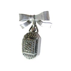 Sterling Marcasite Glass Faced Watch Pin  15 Jewel by openslate