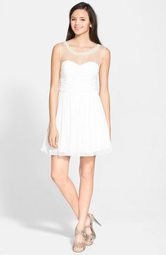 Free shipping and returns on Trixxi Pearl Collar Party Dress (Juniors) at Nordstrom.com. A collar bedecked with lustrous faux pearls and shimmering crystals lends ladylike glamour to an elegant dress with a sheer illusion neckline and ruched, sweetheart bodice.