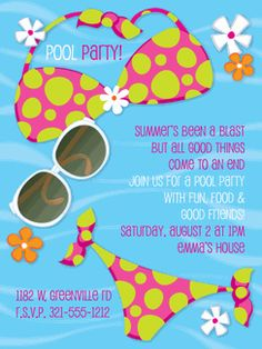 Bikini and Shades Pool Invitations. We offer custom invitations and stationery from top designers, fast service and a Satisfaction Guarantee. Pool Party Invitations, Online Invitations, Baby Shower Invitations, Personalized Invitations, Custom Invitations, Pool Party Activities, 10th Birthday, Birthday Ideas, Summer Parties