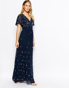 f740ae52bf Frock and Frill   Frock and Frill Wrap Front Embellished Maxi Dress With  Fluted Sleeve at
