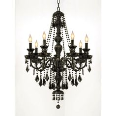 New Keyser 7 - Light Candle Style Classic Traditional Chandelier by House of Hampton. Lighting Home Decor Furniture from top store Chandelier Design, Crystal Chandelier Lighting, Rectangle Chandelier, Black Chandelier, Drum Chandelier, Chandelier Shades, Lantern Pendant, Black Crystals, Crystals
