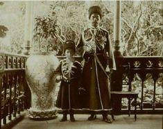 Tsar Nicholas ll and Tsarevich Alexei dressed in Cossack attire, the Grand Palace, Livadia, 1908.