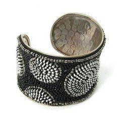 Zipper Beaded Cuff in Silver and Black
