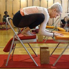 1000 images about iyengar yoga chair arm balances on for Chaise yoga iyengar