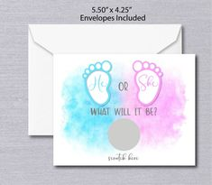 He or She Gender Reveal Scratch Off Cards at Announce It! fun pregnancy announcement ideas to present to family and friends. Fun Pregnancy Announcement, Gender Announcements, Scratch Off Cards, Baby Shower Gender Reveal, Business Card Size, Reveal Parties, Baby Shower Games, Card Sizes, Envelopes