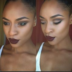 black girl with burgundy lipstick, makeup inspiration, black womens inspiration Pinterest: marseenb☽ ☼☾