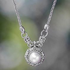 Mabe Pearl and Sterling Silver Pendant Necklace from Bali - Hapsari   NOVICA