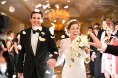 Anna and Spencer Photography, Buckhead Wedding Photographers. Rose Petal Wedding Exit at the Ritz Carlton in Buckhead near Atlanta.