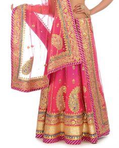 Fuchsia & Sorbet Pink Shaded Lengha Set with Gota Patti - Engagement - Wedding