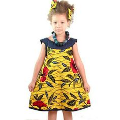How pretty is this? Ankara/African style for girls#dress#yellow#flower#leaf