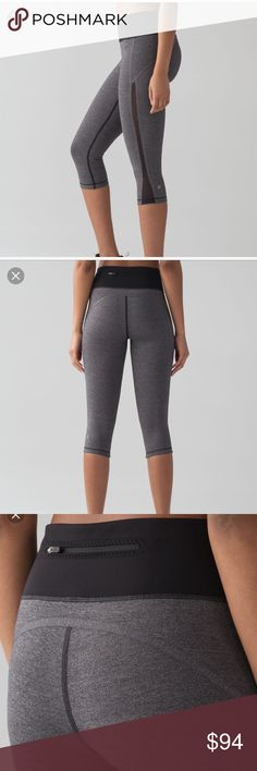 Smooth stride crop In heathered black. Brand new, tag just fell off when tried on but still have it and will include it! lululemon athletica Pants Leggings
