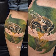 Bee tattoo by Yury! Limited availability at Revival Tattoo Studio.
