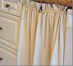 DIY::Fabric Cupboard (or Under Any Shelf) Door Curtains. To cover old cupboards in bathroom. Red fabric maybe?