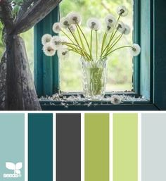color wishes, Living room, kitchen, dining room. Light turq for wall, grey for carpet/tile, darg brown for couch, dark turq for curtains and more couch, greens for accents and pillows