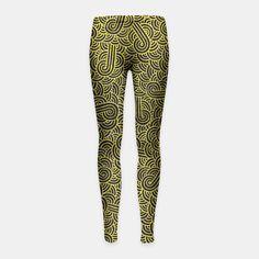 """Black and golden zentangles"" Girl's Leggings by Savousepate on Live Heroes #leggings #leggins #pants #kidsapparel #kidsclothing #pattern #graphic #modern #bling #abstract #doodles #zentangles #scrolls #spirals #arabesques #black #gold #yellow"