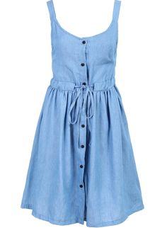 Blue Strap Drawstring Waist Buttons Dress 19.33