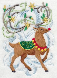 Embroidered Rudolph quilt block,reindeer,christmas panel,quilt,cushion,christmas