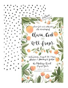 Floral Wedding Invitation or Announcement paired with fun black polka dots and calligraphy! Vintage inspired perfect for any Rifle Paper Co. enthusiast or Anthropologie frequenter.