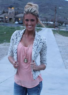 Lace blazer, good way to modest those shirts you always wish you could wear.