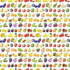 Seamless Fruits (JPG Image, Vector EPS, CS, apple, berry, cartoon, diet, Durian, fresh, grapes, green, isolated, kiwi, low calories, melon, nutrition, on white, organic, papaya, paper, pattern, pear, picture, pineapple, repeating, seamless, vegetable, veggies, vitamin, wallpaper, white, white background, wrapping)