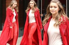 Gigi Hadid looks hot to trot   Gigi Hadid sizzled in skin tight leather trousers and a long red coat in New York.  The 20-year-old model might have been without her spikey-haired beau Zayn Malik but she seemed to be in a pretty good mood as she headed to a Sports Illustrated party. Not many people would be able to pull off bright red leather pants with a lace-up front and a matching coat with sparkling detail but then again not everybody is a successful model with legs as long as Gigi's…