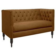 Pine wood settee with velveteen upholstery and spindle legs. Handmade in the USA.   Product: SetteeConstruction Mater...
