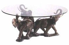 elephant table | TB0121 - Bronze 3 Elephant Coffee Table - Bronze sculpture