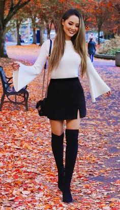 39 Hübsche Outfits Winter Ideen Stiefel Röcke www.addicfashion 39 Pretty outfits winter ideas boots skirts www. Perfect Fall Outfit, Casual Fall Outfits, Winter Fashion Outfits, Fall Winter Outfits, Look Fashion, Stylish Outfits, Autumn Fashion, Winter Night Outfit, Skirt Outfits For Winter
