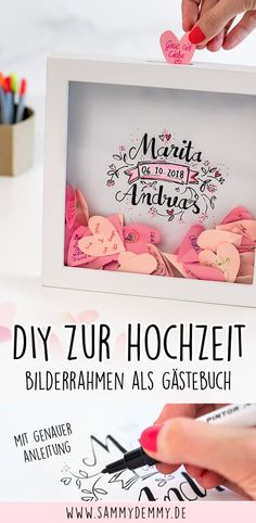 The slightly different guest book for the wedding: Congratulations in the picture frame - Sammydemmy: DIYs - Hochzeit Wedding Picture Frames, Wedding Frames, Wedding Guest Book, Wedding Pictures, Guestbook Wedding, Wedding Favors, Diy Wedding, Wedding Decorations, Marriage Reception