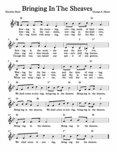 Free Sheet Music for Bringing In The Sheaves. Enjoy!
