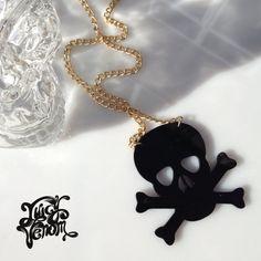 Juicy Venom Perspex Cut Out Plastic Statement Necklace Black Skull Design