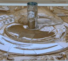 István Orosz specializes in mirror anamorphosis, where a conical or cylindrical mirror is placed on the drawing to transform a flat distorted image into a three dimensional picture that can be viewed from many angles. He also does slant anamorphosis.