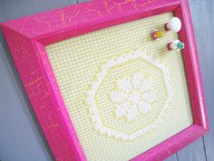 Yellow Gingham Magnet Board with Magnets by SnapdragonScullery on Etsy.