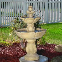 This 3-tier bird bath outdoor water fountain's shallow bathing pool with be loved by your birds. Lighweight durable fiberglass. Sunnydaze FC-73528 #birdbaths #gardenfountains #waterfountains