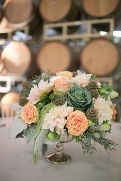 Peach Dalia and Peony Centerpiece With Cabbage Roses